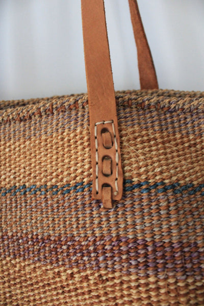 Vintage Sisal Bag - Diamonds & Rust
