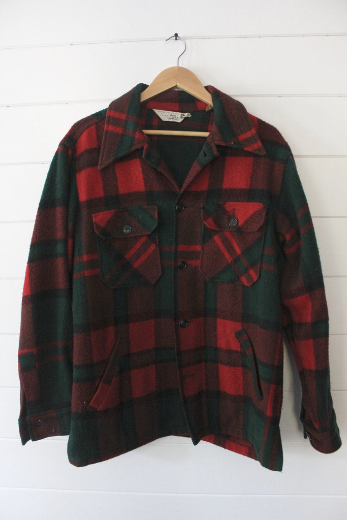 Vintage Woolrich Green & Red Plaid Overskirt