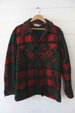 Vintage Woolrich Green & Red Plaid Overshirt