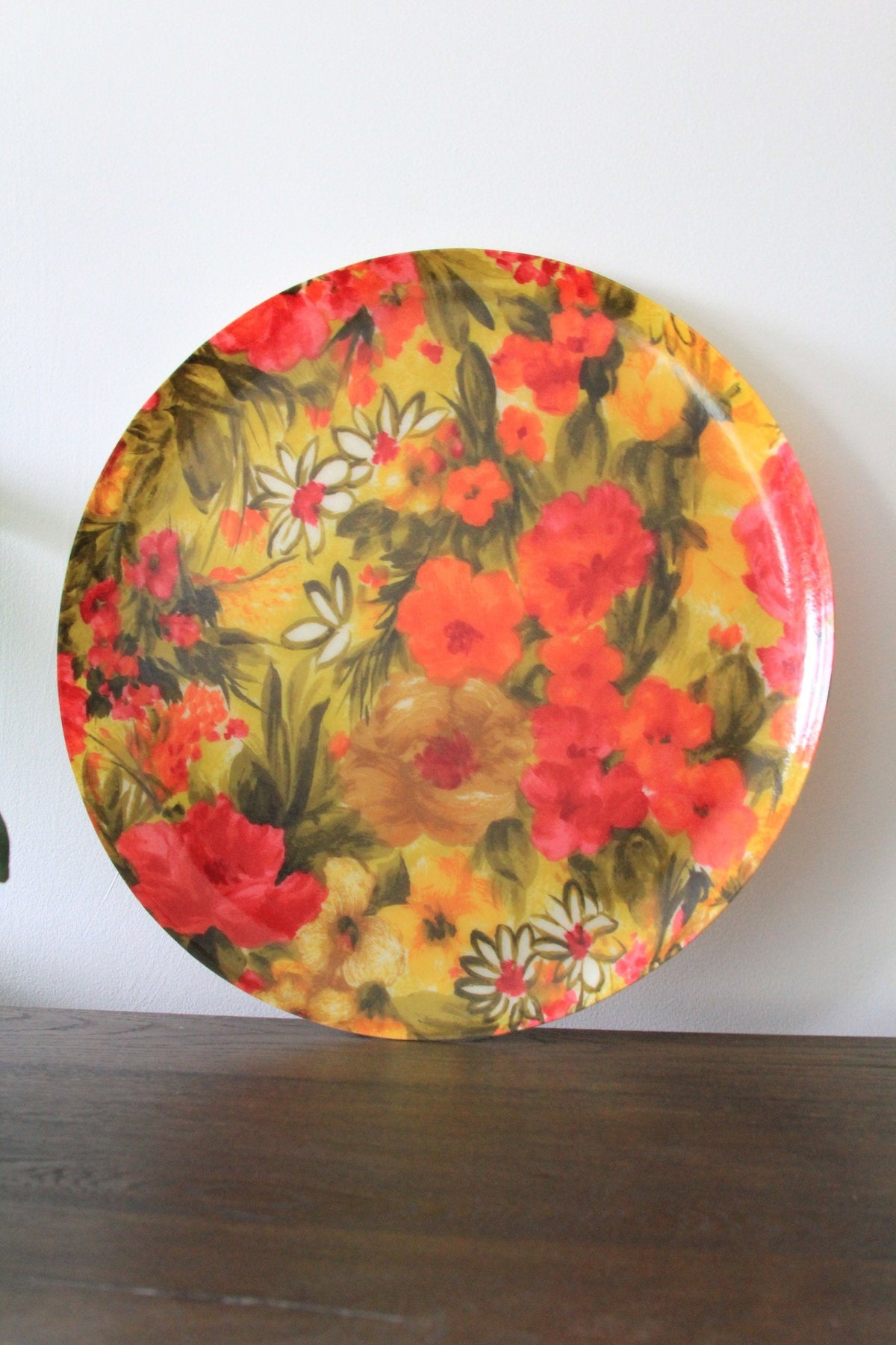 Mid Century Floral Tray - Diamonds & Rust