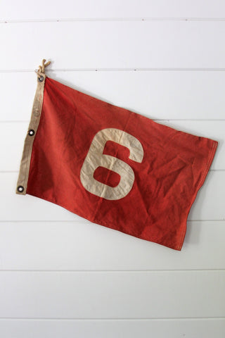 Vintage Red Number 6 Flag