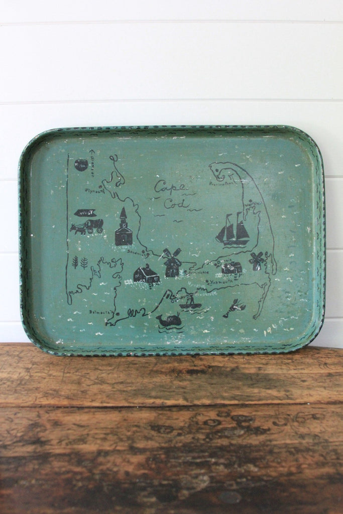 1940s Hand Painted Cape Cod Tray