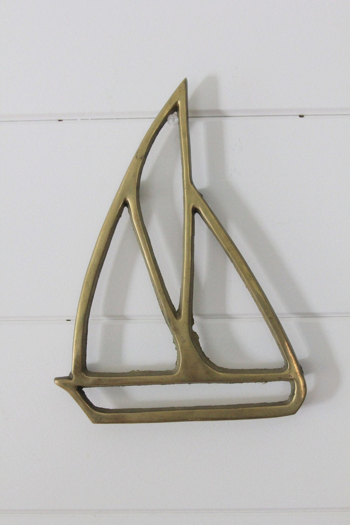 Vintage Brass Sailboat Trivet - Diamonds & Rust
