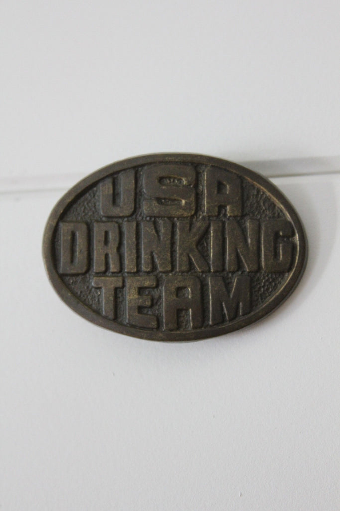 USA Drinking Team Belt Buckle - Diamonds & Rust