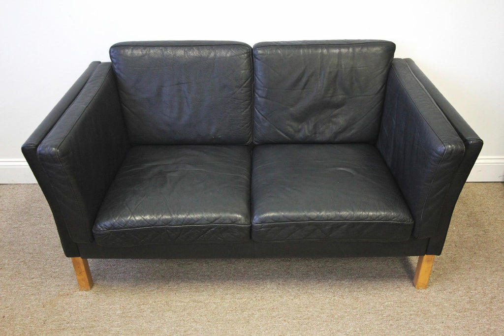 vintage. danish, black, leather, sofa, couch, loveseat ...