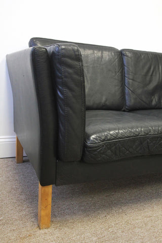 Borge Mogensen Style Danish Black Leather Two Seater Sofa