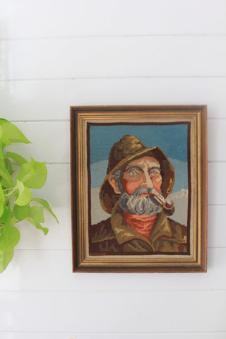 Framed Needle Point Fisherman Portrait