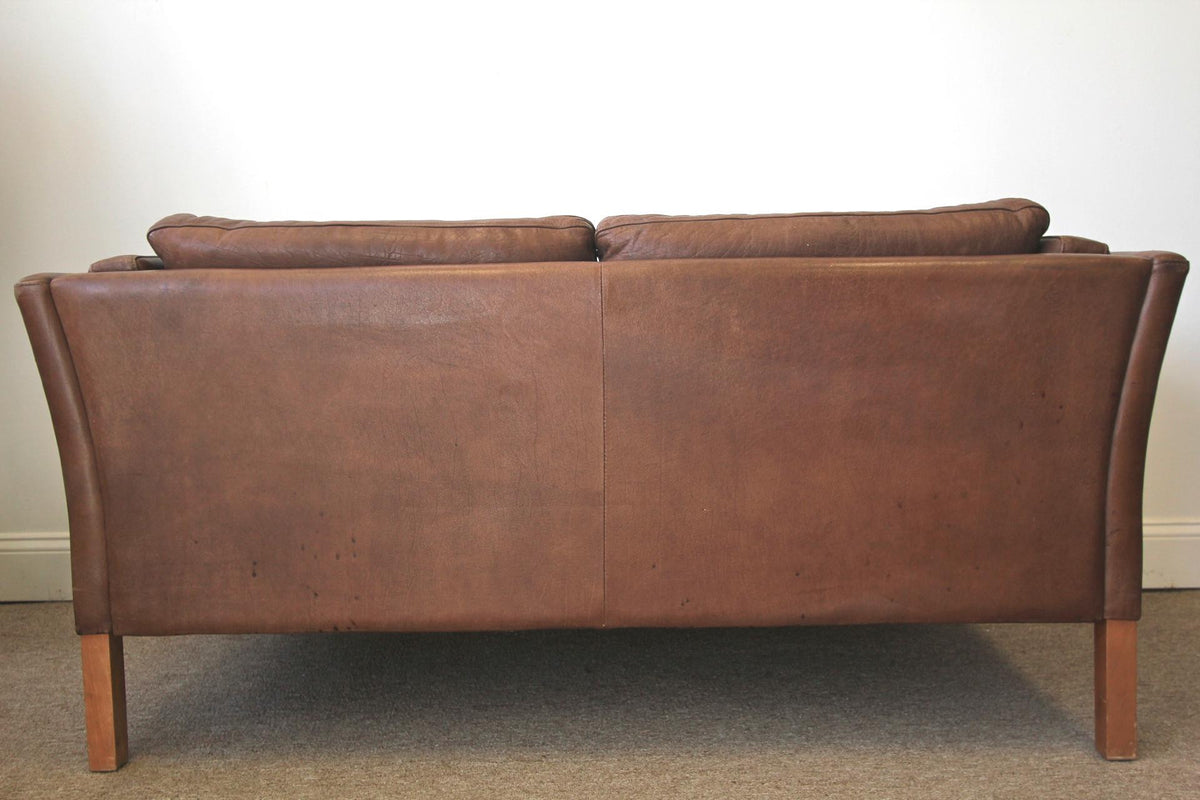 Danish Brown Leather Sofa by Stouby