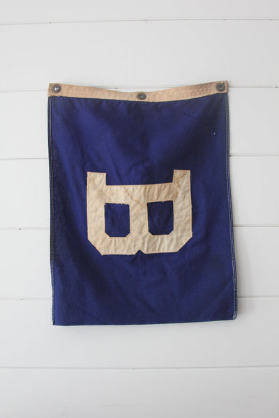 Vintage Letter B Flag - Diamonds & Rust
