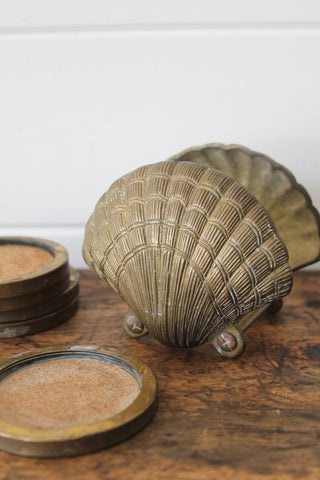 Brass Clamshell Coasters
