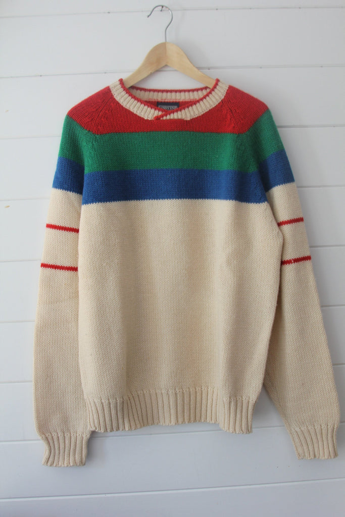 Vintage Lands End Sweater - Diamonds & Rust