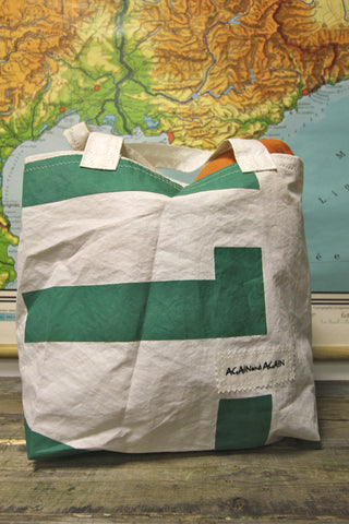AGAIN AND AGAIN Green Letter Tote