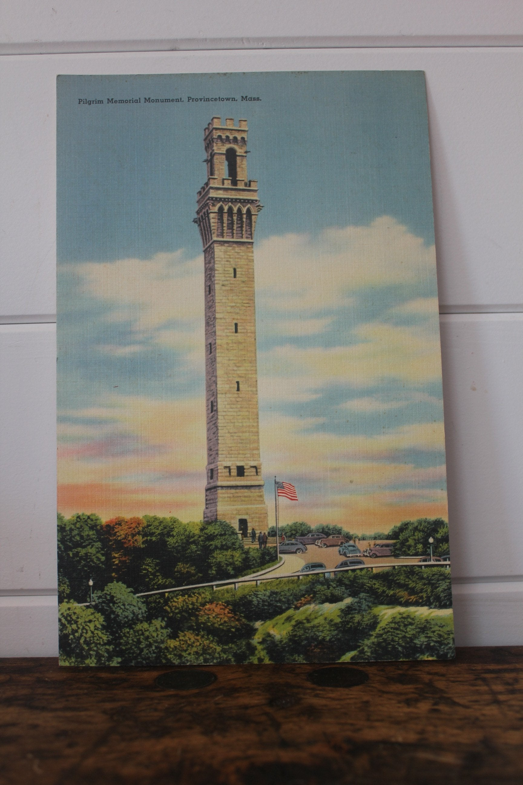 Vintage Pilgrim Monument Oversized Postcard - Diamonds & Rust