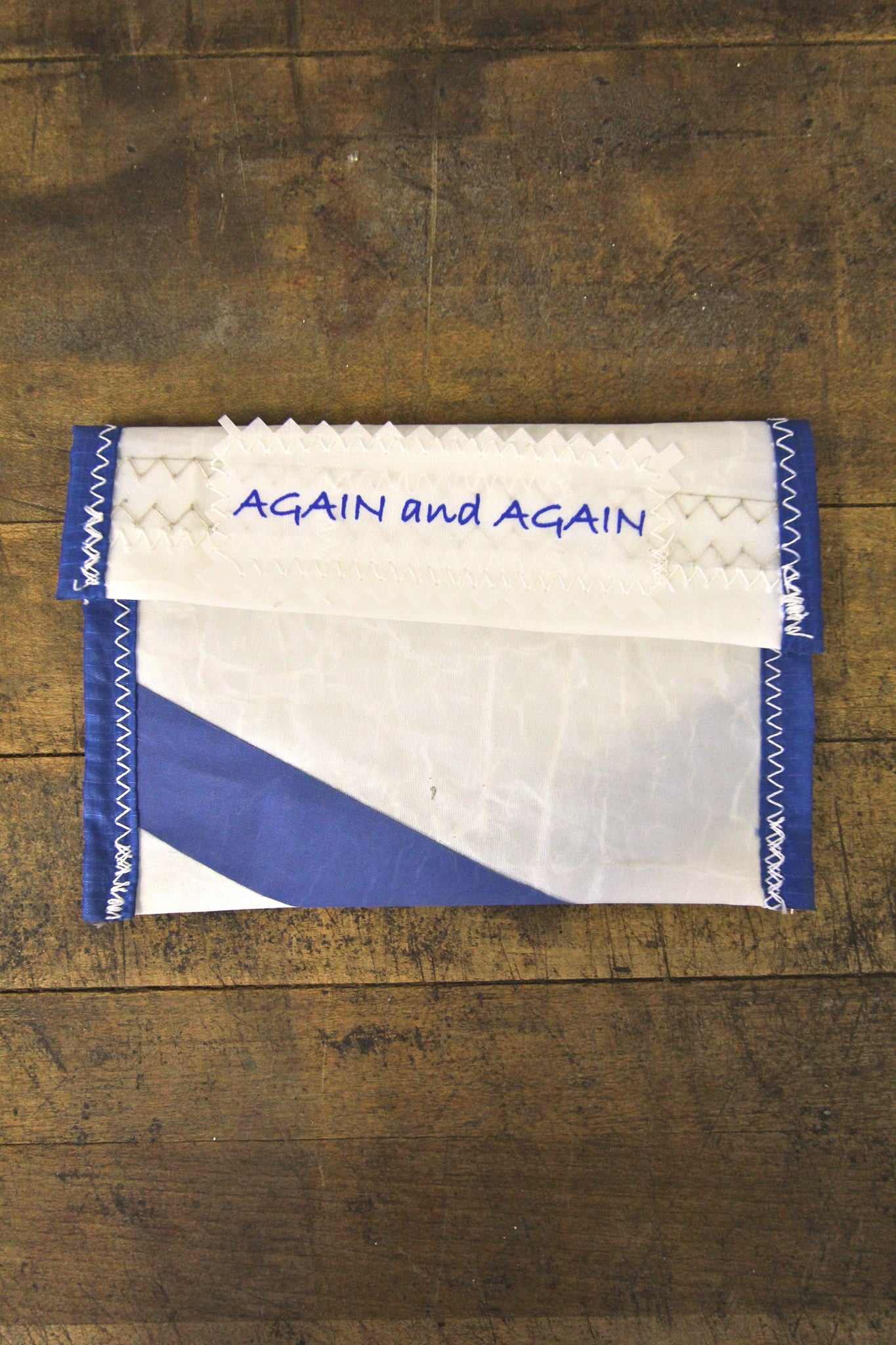 AGAIN AND AGAIN Small Pouch Blue Trim