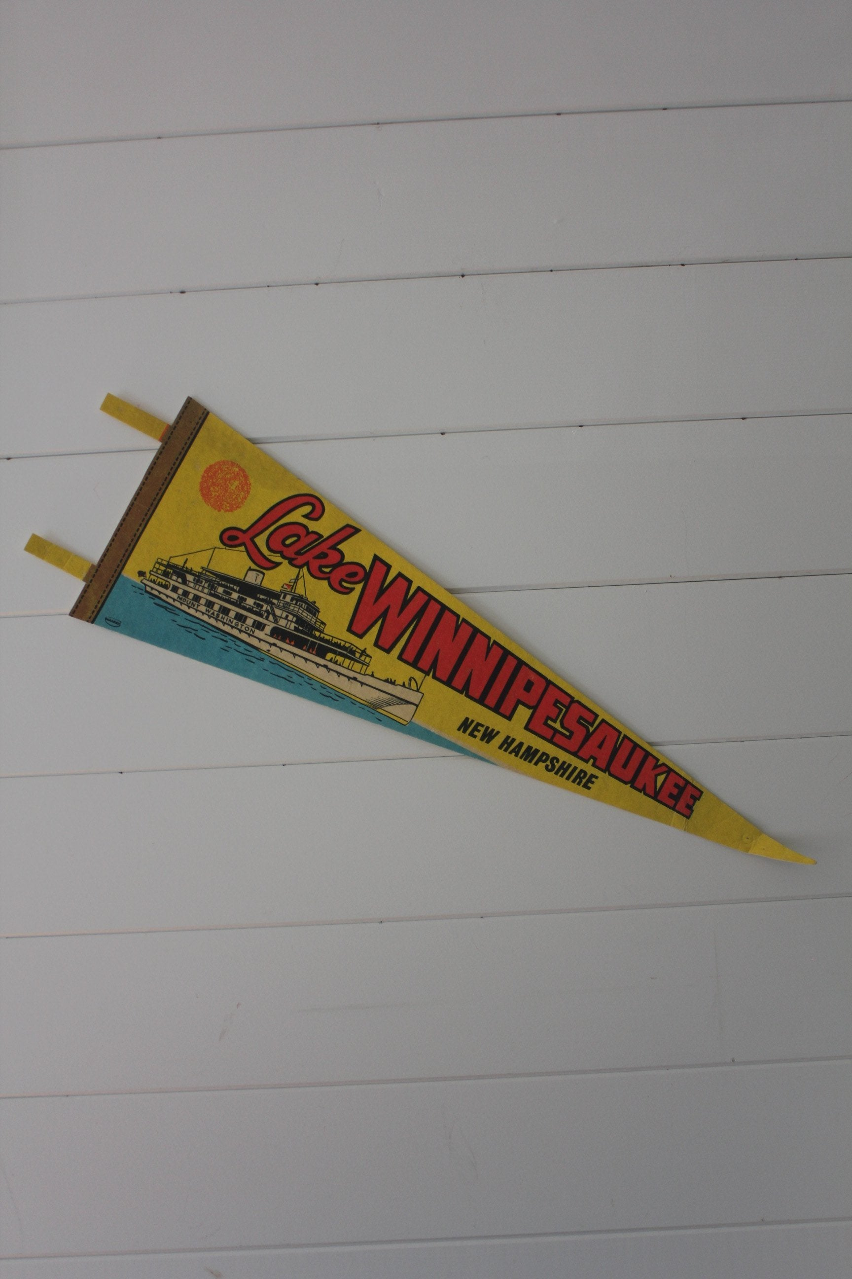 70s Lake Winnipesaukee Pennant - Diamonds & Rust