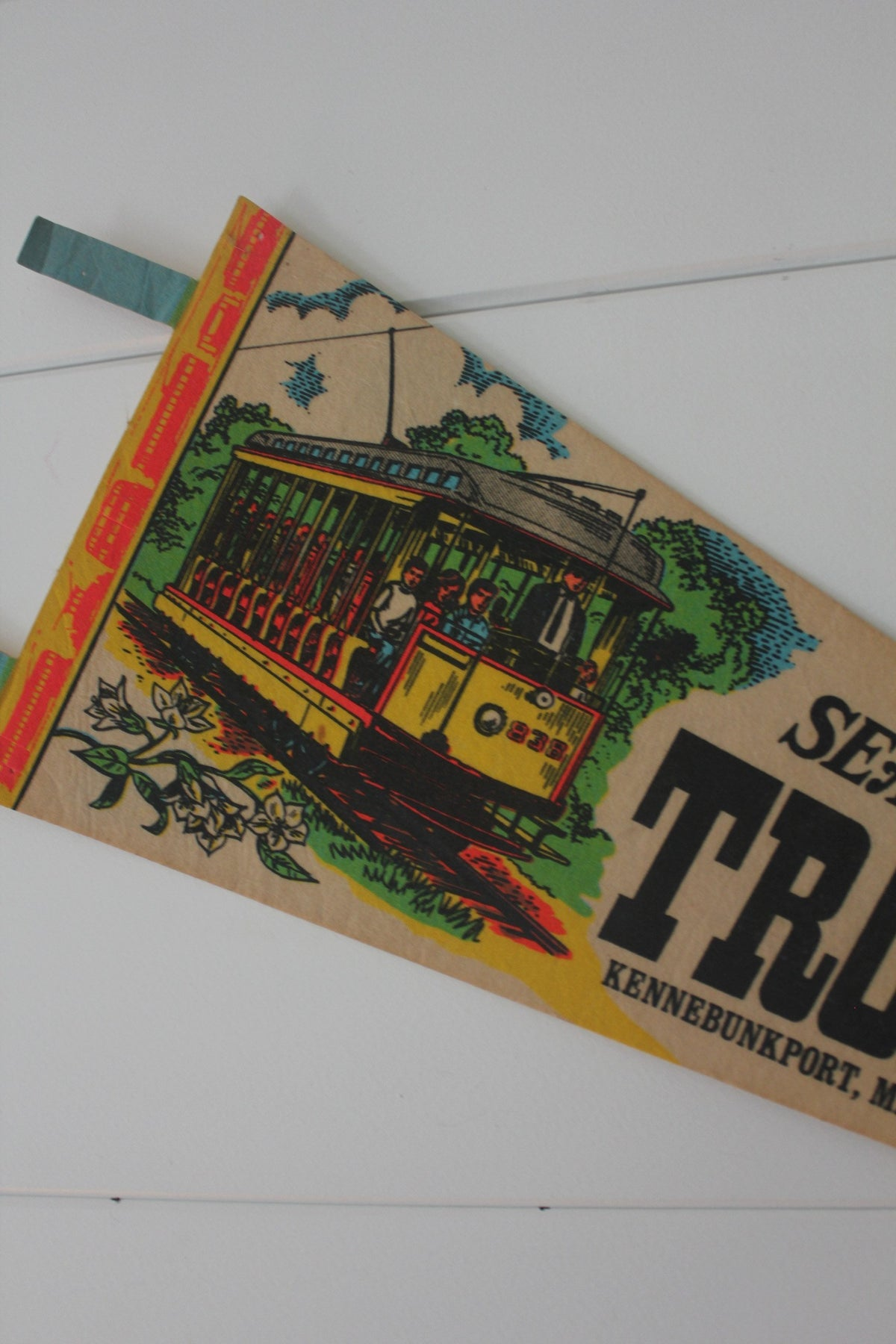 70s Seashore Trolley Museum Pennant - Diamonds & Rust