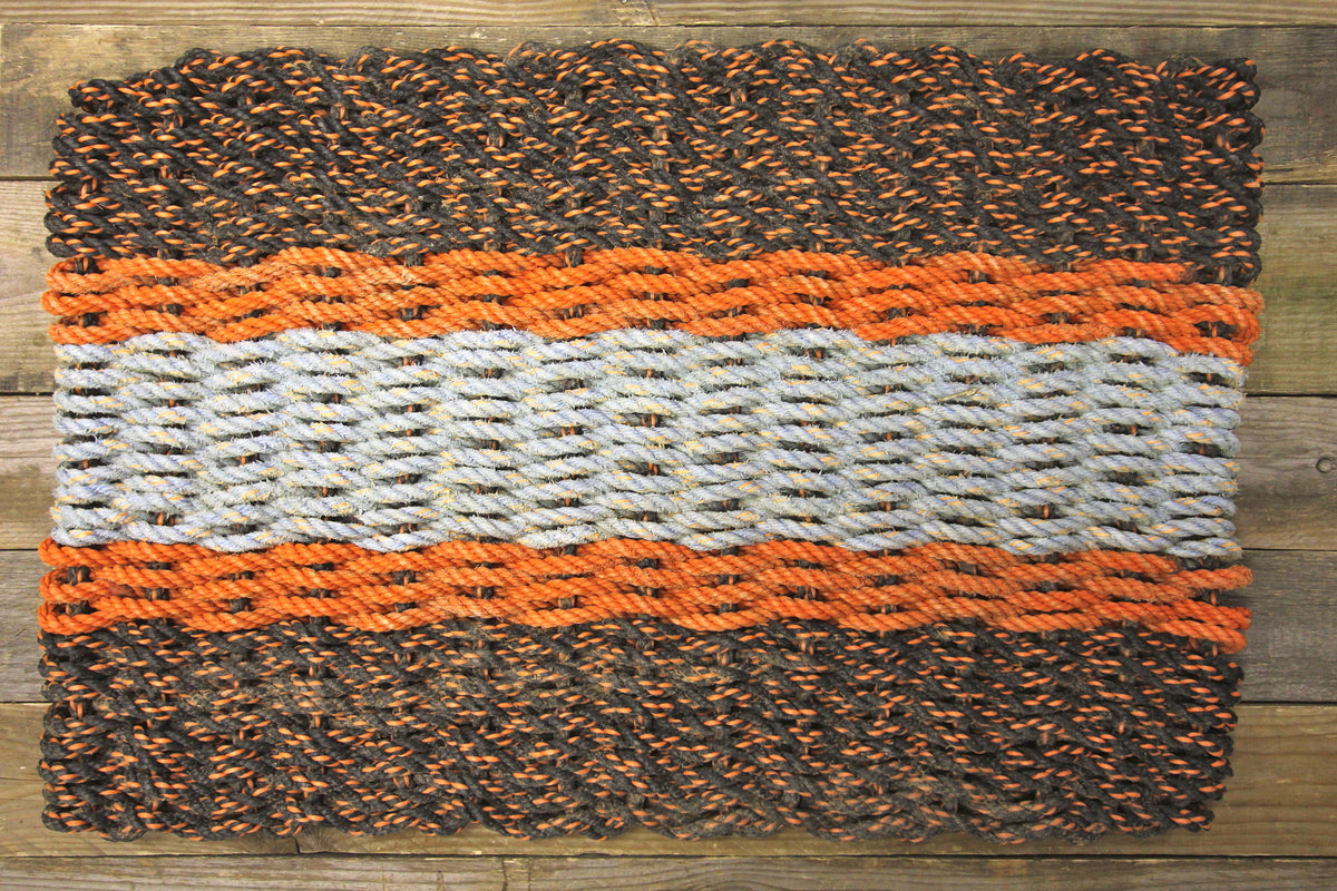 Mac's Mats 5 Stripe Door Mat Black Orange