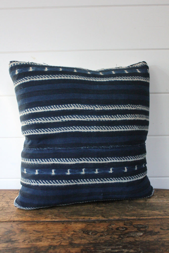 D&R Indigo Mudcloth Pillow 20""