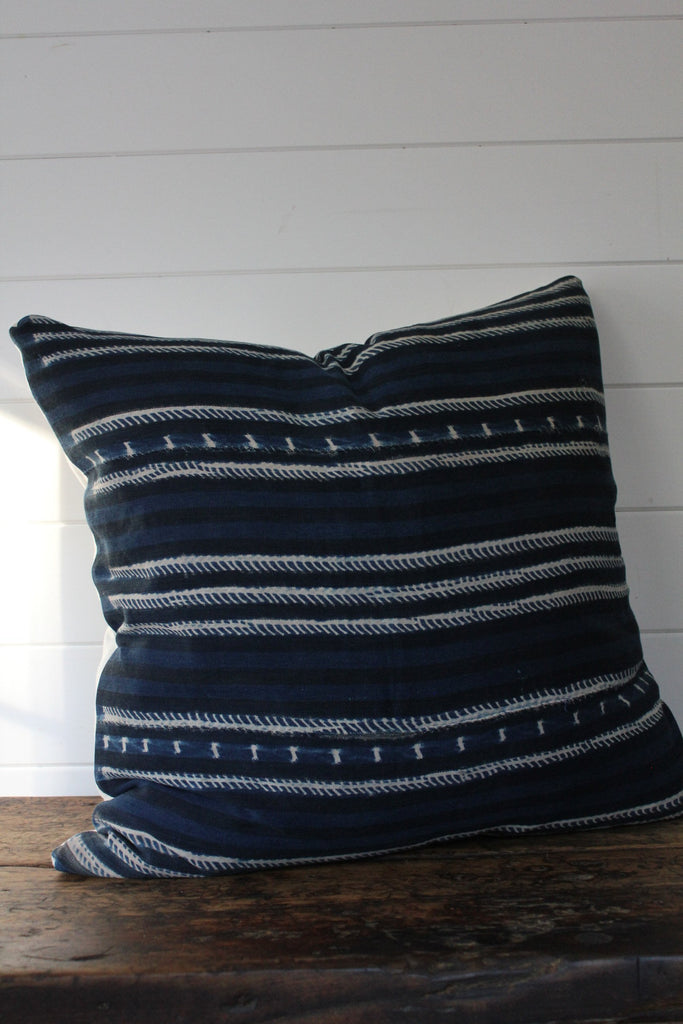 "D&R Indigo Mudcloth Pillow 26"" - Diamonds & Rust"