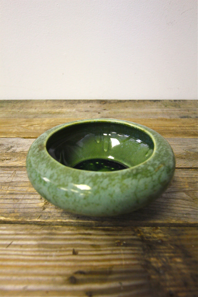 Ceramic Planter Green with Blue Splatter