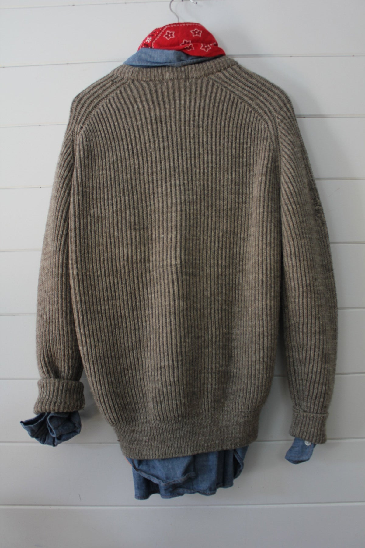 Vintage Grey LL Bean Sweater - Diamonds & Rust