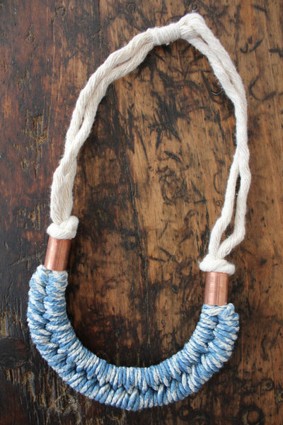"Fibrous ""Indigo Dolly Necklace"" - Diamonds & Rust"