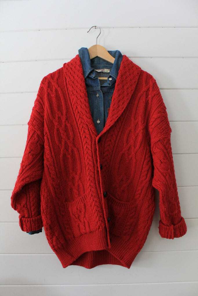 Vintage Red Fishermans Cardigan