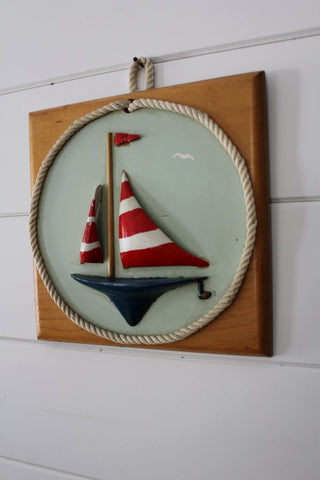 Wooden Sailboat Plaque
