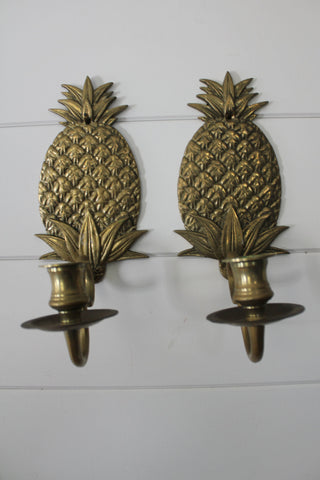 Vintage Brass Pineapple Sconces