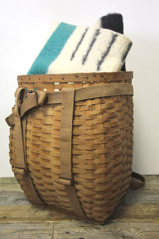 Antique Woven Slat Pack Basket