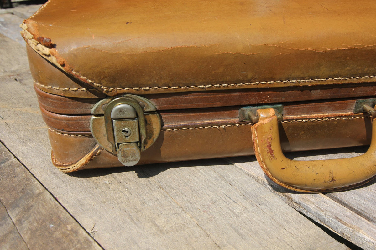 1950s Leather Suitcase - Diamonds & Rust