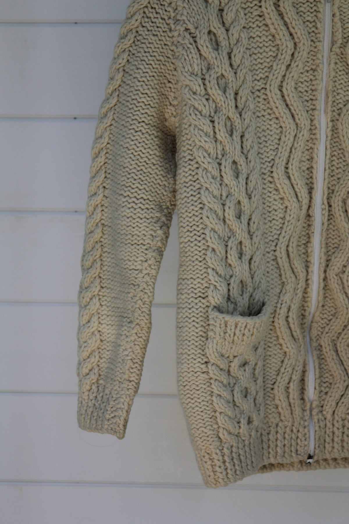 Vintage Fisherman's Zip-Up Sweater - Diamonds & Rust