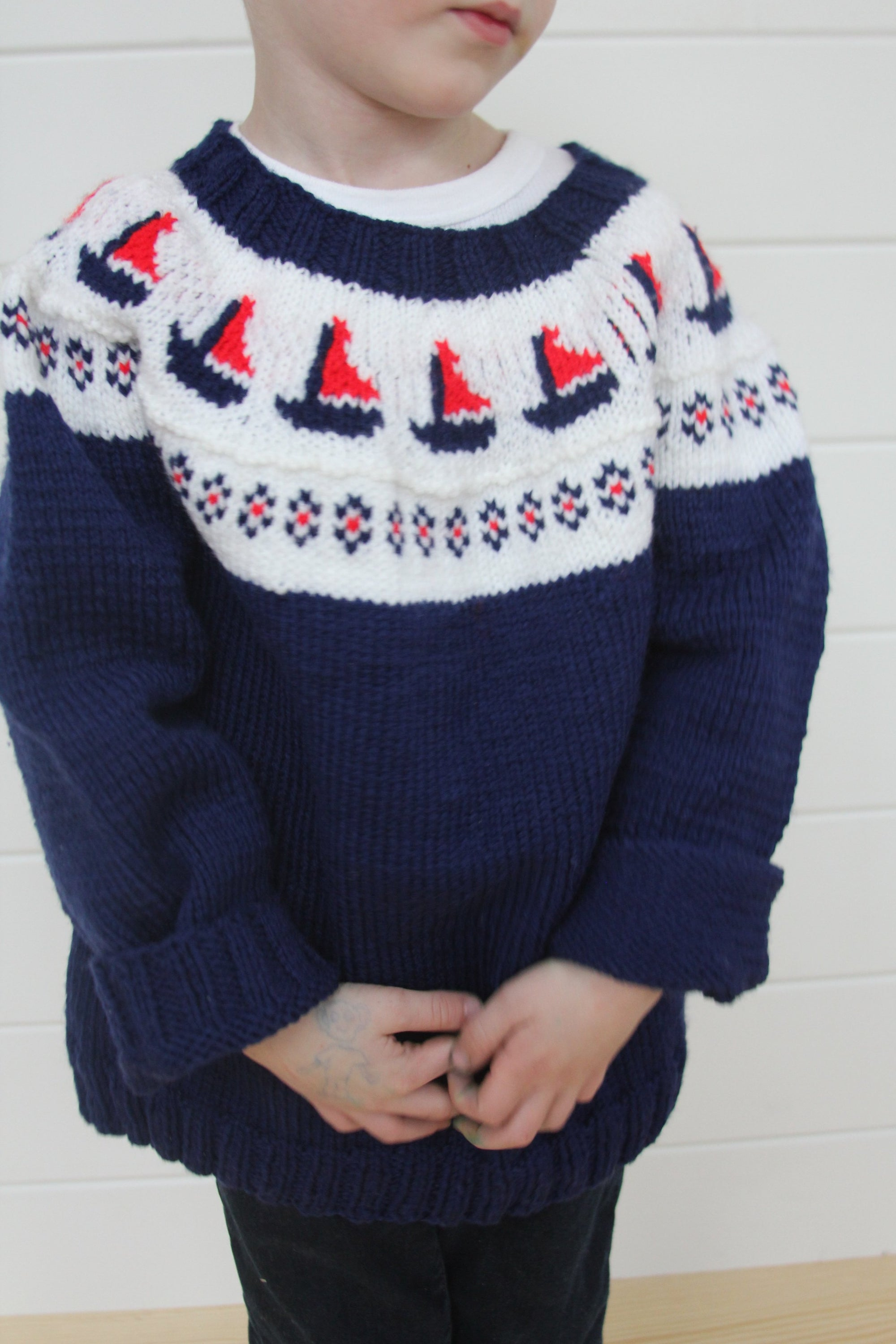 Vintage OshKosh Sailboat Sweater - Diamonds & Rust