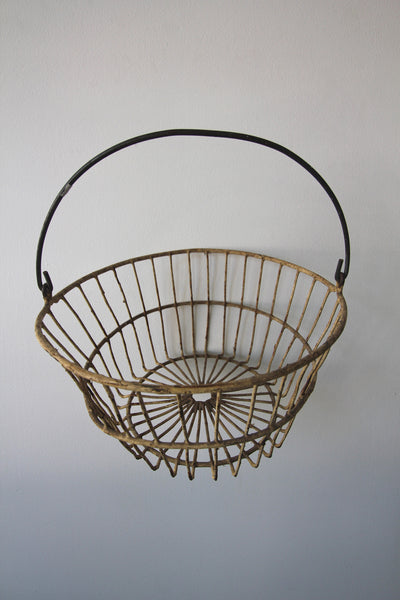 Vintage Yellow Egg Basket