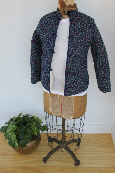 Vintage Floral Quilted House Coat - Diamonds & Rust
