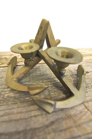 Pair of Brass Anchor Candle Holders