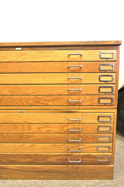 10 Drawer Oak Flat File - Diamonds & Rust