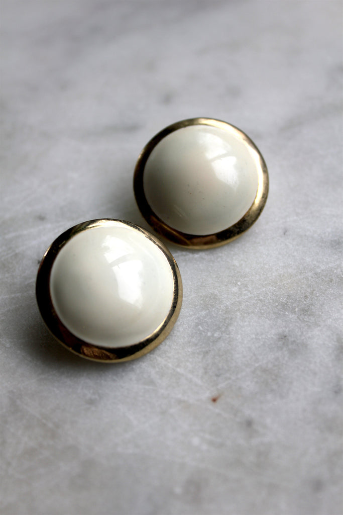 Vintage Ivory and Gold Earrings