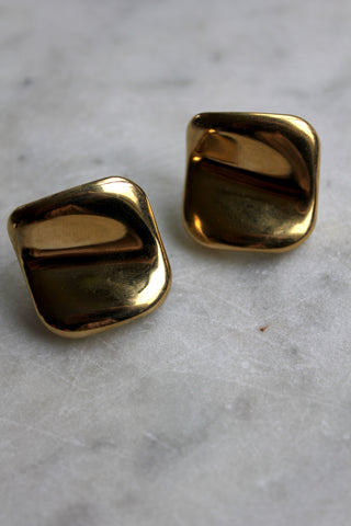 Vintage Gold Square Post Earrings