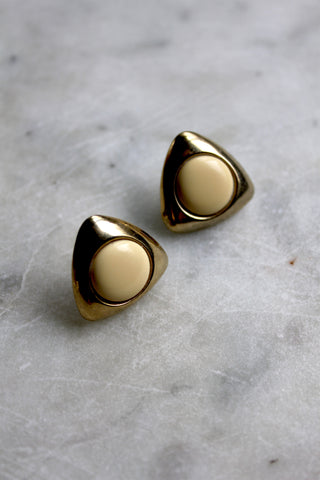 Vintage Gold Triangle Post Earrings