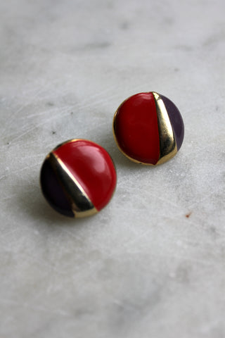 Vintage Red and Purple Post Earrings