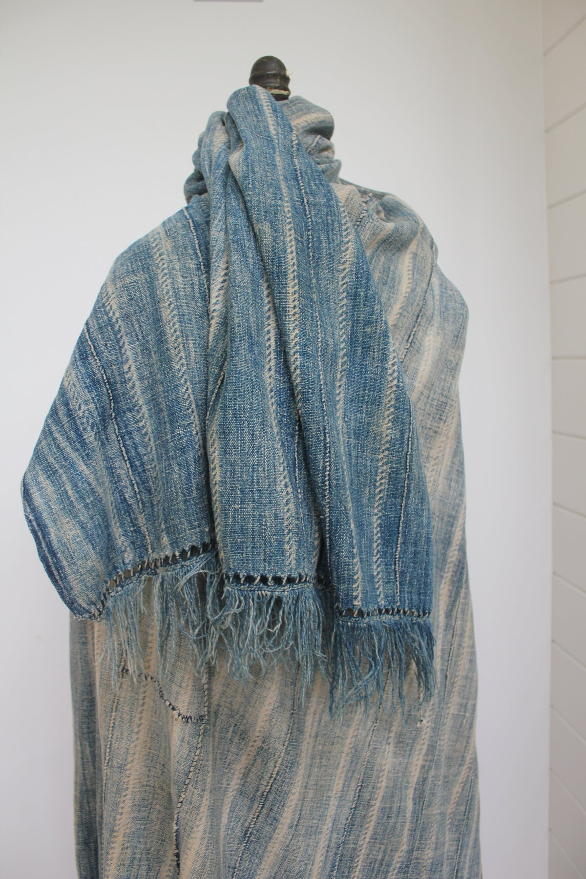 Vintage Indigo Textile: Striped 3 - Diamonds & Rust