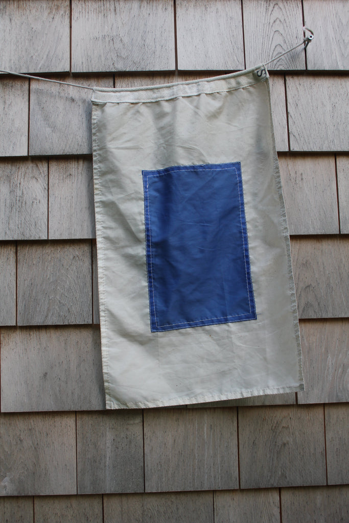 Vintage Nautical Letter S Signal Flag - Diamonds & Rust