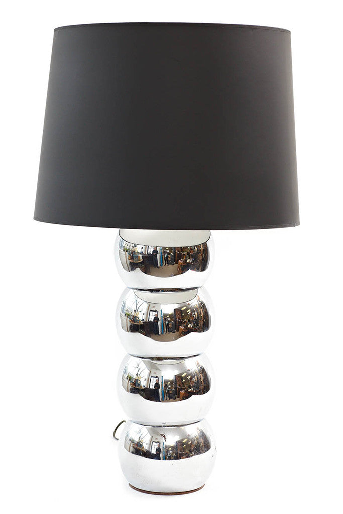 Chrome Ball Table Lamp With Black Shade
