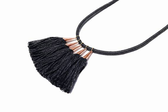"Fibrous ""Bridge Tassel"" Necklace - Diamonds & Rust"