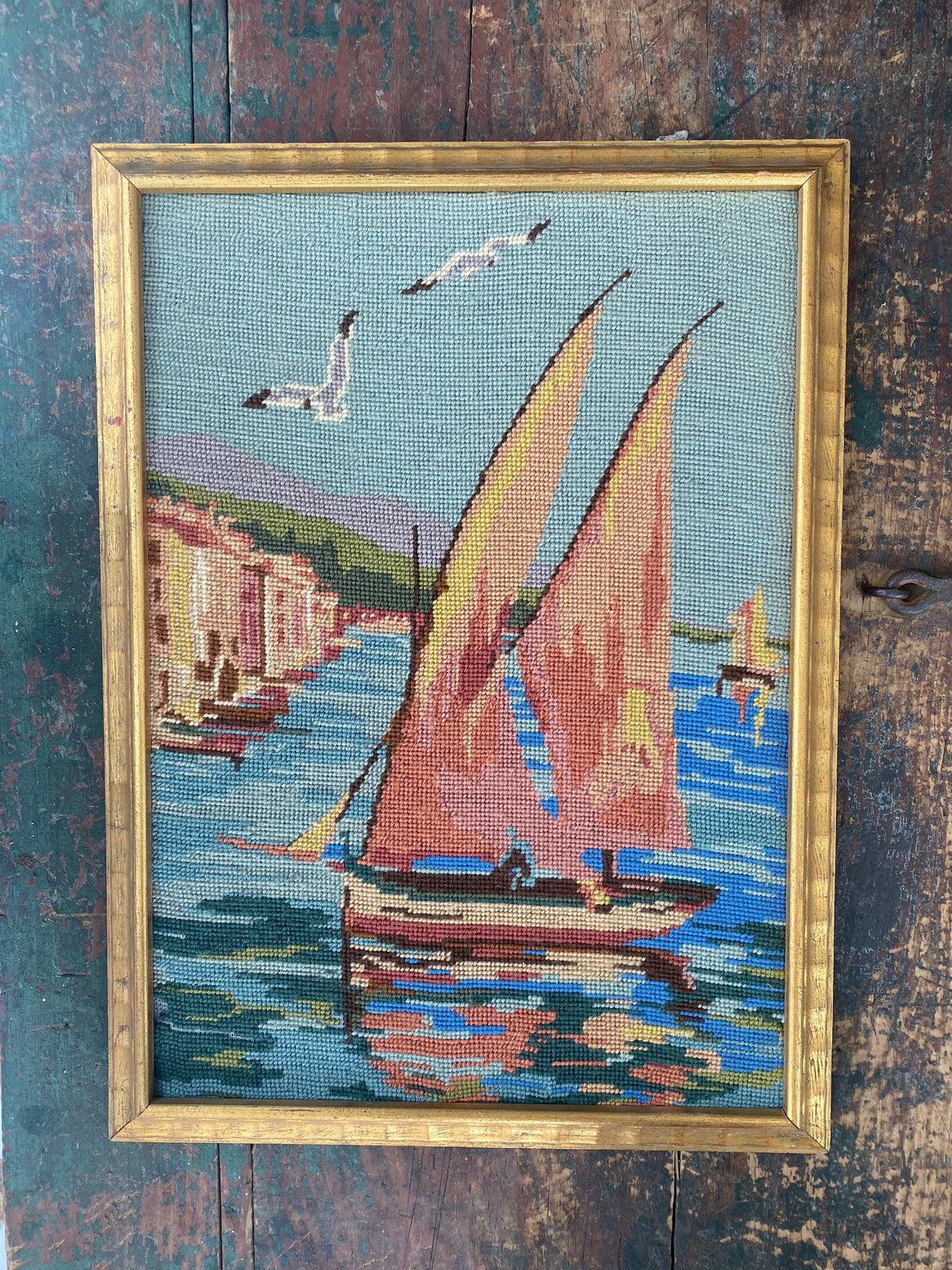 Framed Needle Point Sailboat