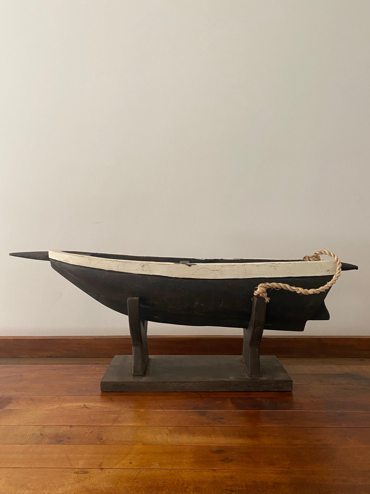 Antique Wooden Boat + Base
