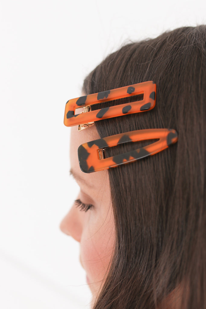 Tortoise Shell Hair Clip Set