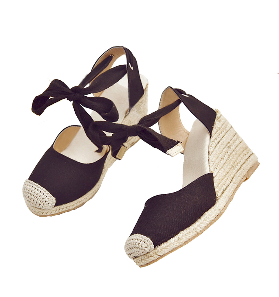 BIANCA - Ankle Strap Espadrille Wedges