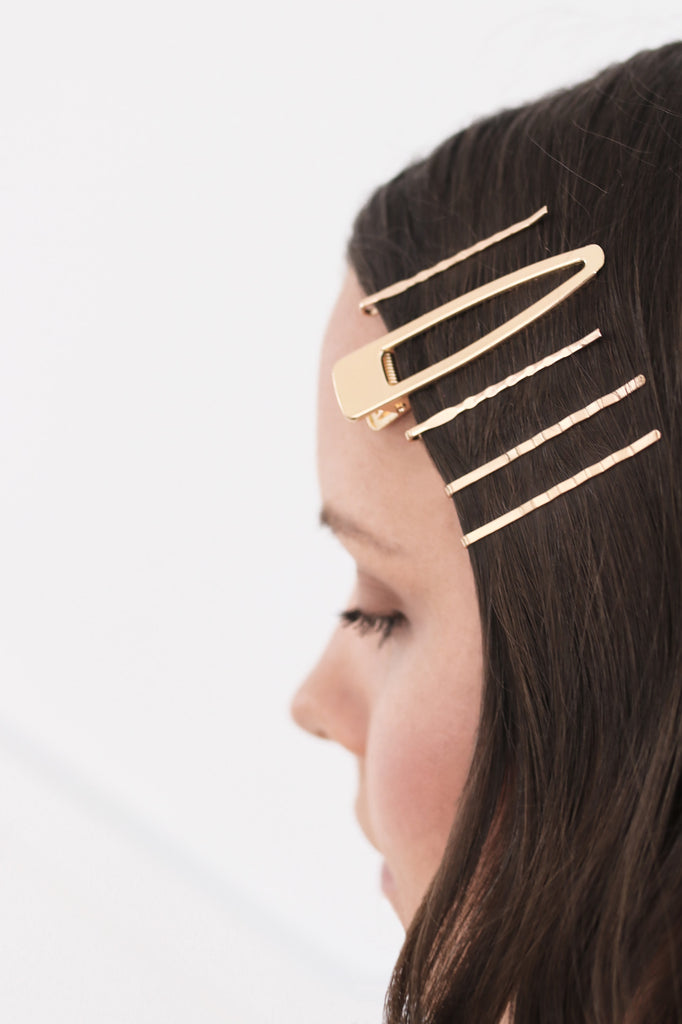 Gold Hair Clip & Bobby Pin Set